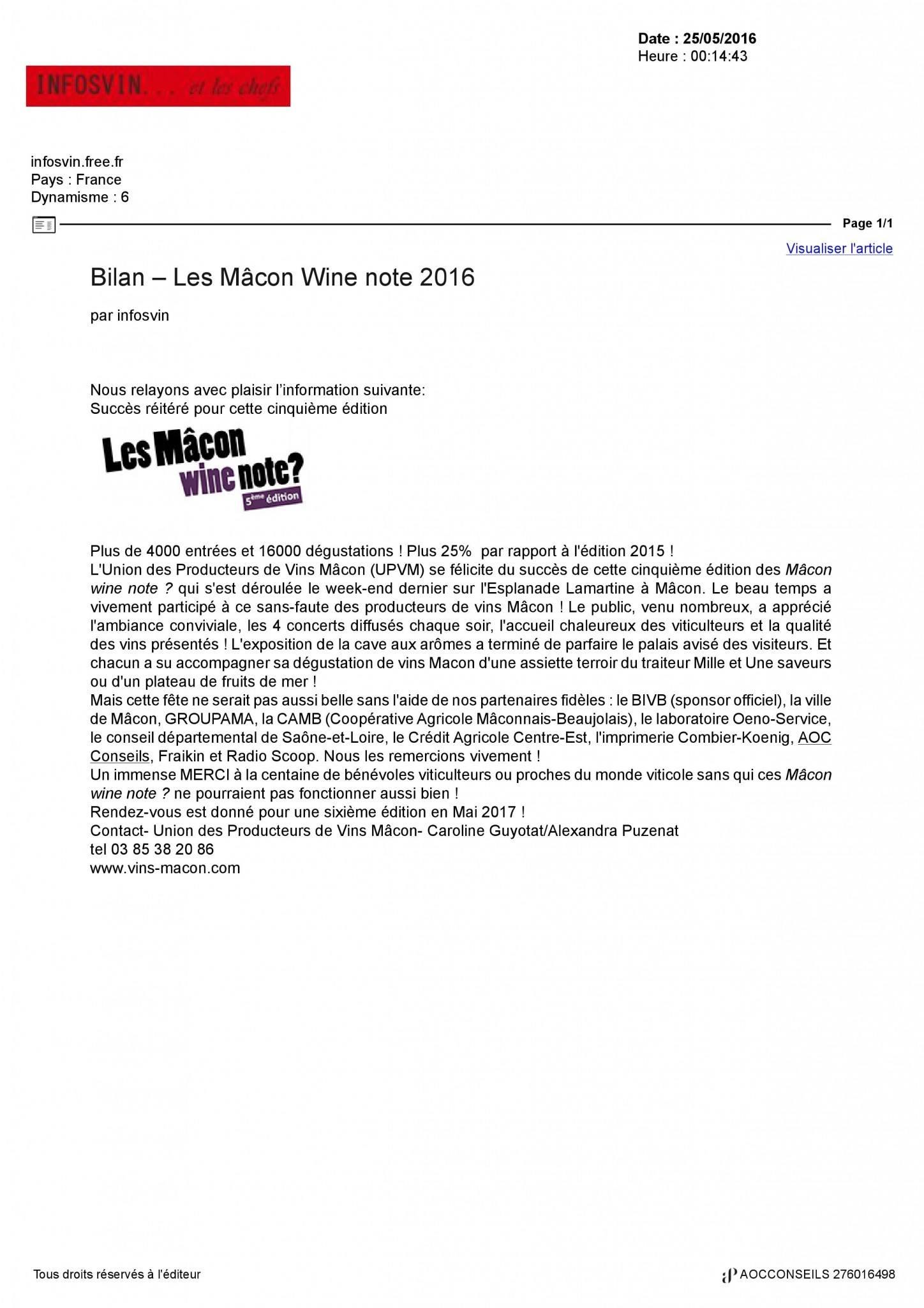 les maçon Wine note 2016